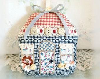 "Home Decor Cottage Ornament 5"" House Door Hanger, Blue Brick Red Ivory, Primitive Cloth Handmade CharlotteStyle Decorative Folk Art"