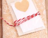 40 Adesivi di carta kraft a forma di cuore