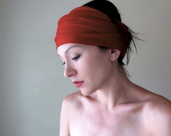 PAPRIKA Head Scarf - Rust Red Hair Wrap - Jersey Yoga Headband - Extra Wide EcoShag Headband - Womens Bohemian Hair Accessories