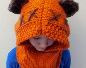 PATTERN ONLY: Furry Forest Friend Hood, Star Wars Ewok Inspired Cowl, Instant Download, DIY, Knitting Pattern, knit Halloween costume