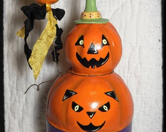 Halloween Folk Art JOL Pumpkin Sculpture Art Collectible Mibrky Creations OOAK