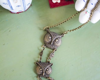 REDUCED PRICE Handmade 3-Tiered Brass Owl Necklace