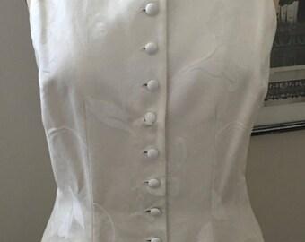 Creme Cotton Jacquard Vest by Richard Tyler