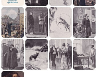 Anton Chekhov in Illustrations of Soviet Artists. Set of 12 Vintage Postcards (out of 24) plus original cover -- 1954