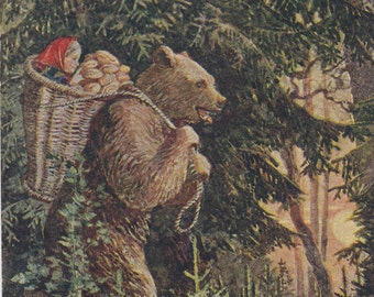 """Postcard Illustration by V. Khvostenko for Russian Tale """"Masha and the Bear"""" -- 1954. Condition 9/10"""