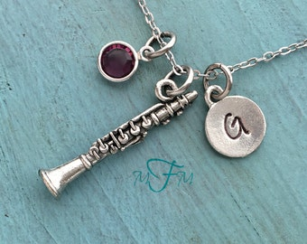 Clarinet Charm Necklace, Personalized Necklace, Silver Pewter Clarinet Charm, Custom Necklace, Swarovski Crystal birthstone, monogram
