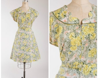 Vintage 1950s Dress • Tomorrow Tune • Chartreuse Floral Cotton 50s Zip Front Day Dress Size Large