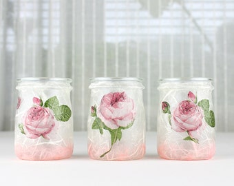 Glass Lanterns, Pink Rose Design, Set of 3, Glass Tea Light Holder, Glass Candle Holder, Glass Home Decoration, Floral Candle Holder