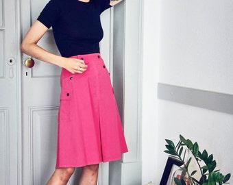 vintage 70s pink cotton a-line skirt