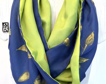 Infinity Scarf, Silk Scarf Handpainted, Gift for her, Navy Blue and Gold Scarf, Vines Scarf green, Double layered Reversible, 14x72 inches.