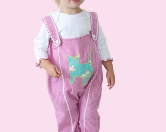 Baby romper, Toddler one piece, pink jumpsuit, kitty vintage fabric applique, pink houndstooth cotton, 2 piece Girls jumper & Tee,