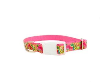 Paisley Dog Collar, Hot Pink Yellow Floral Paisley Lilly Pulitzer Dog Collar