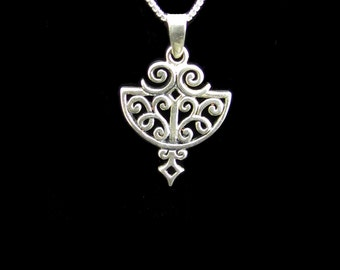 Sterling Silver Filigree Drop Necklace,  Bohemian Necklace