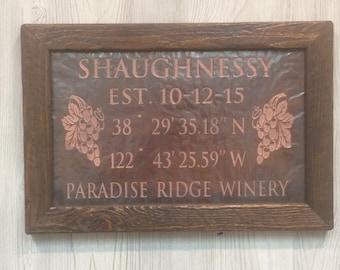 Destination Wedding Gift, Wine Country Wedding gift, Napa Valley Wedding Gift, Wine Themed Wedding, Latitude Longitude Copper Engraving