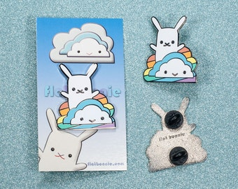 Bunny enamel pin rainbow cloud, Kawaii rabbit jewelry, Cloisonné lapel pin metal badge, Cute boy girl LGBT gift, backpack pin, Flat Bonnie