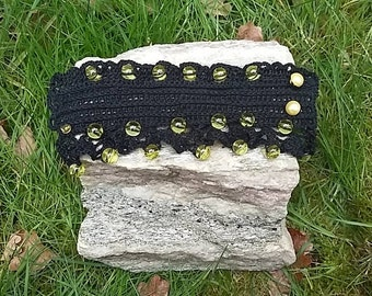Embroidery Bracelet : Unique handmade crochet, embroidered bracelet with plastic yellow beads