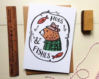 Hugs and Fishes -Father's Day Card