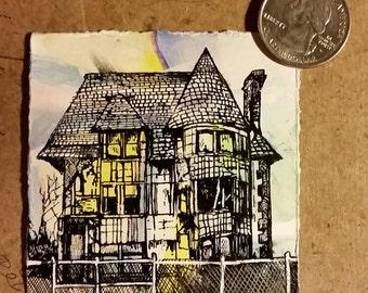 Abandoned house in Detroit (original artwork)