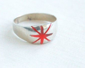 Star Ring Band Size 6 .75 Vintage Mexican Sterling Silver Dome Red Orange Neon Supernova