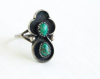 Double Turquoise Ring Size 7 .5 Southwestern Jewelry Vintage Sterling Silver Signed NC