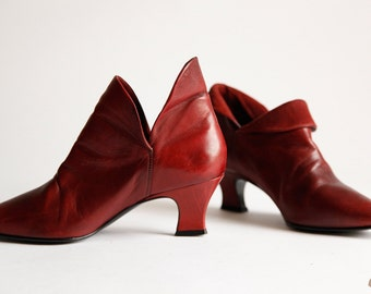 Burgundy Red Leather Ankle Boots Maroon Heels Size 6 1/2 Made in Brazil