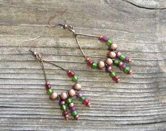 Copper Earrings, Boho Earrings, Bohemian Earrings, Copper Boho Earrings, Copper Beaded Earrings,