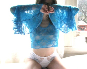 See Through Lingerie Lace Bell Sleeve Crop Top - long sleeve shirt 8 colors available - sheer lingerie - lace lingerie - bohemian clothing