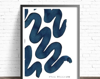 Ink print Abstract Art. Blue art print. Abstract painting print. Modern prints. Abstract print. Modern art print. Decorative prints.