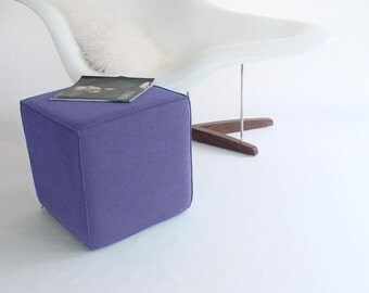 Cube/Purple Ottoman/Royal Purple/Eclectic/Lavender/Modern Floor Pouf/Contemporary/ Nursery/Modern Cube/Foot Stool /Zigzag Studio Design