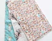 Set of 3 Burp Clothes, Minky and Cotton, Deer Antler Floral Aqua, Boho Baby Girl, Neutral Modern Design, READY TO SHIP