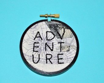 READY TO SHIP! - Embroidery Hoop Art - Adventure Home Decor - Wanderlust Gift - Hand Embroidered Wall Decor - Travel Gift Idea
