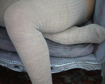 Thigh high - KNITTED wool socks - Better than leg warmers - extra long - 110cm leg -OATMEAL BEIGE- vintage pattern- merino/wool blend