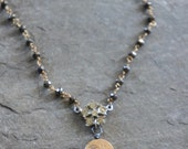 Time Gone By-Vintage gold filled pendant pyrite and gold chain necklace beaded necklace assemblage jewelry F456-by French Feather Design.