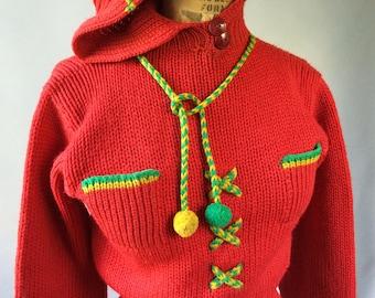Primo 1940s Vintage Pom-Pom Knit Hoodie Sweater Pockets & Drawstring