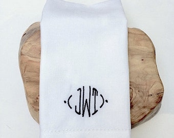 Modern Embroidered Monogrammed Cloth Dinner Napkins /Set of 4/ embroidered napkins, White Napkin, cloth napkins, table linens, cloth napkins