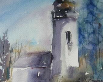 "Watercolor Lighthouse Painting Original Art Seascape  Beach Lighthouse 11"" x 14"" CarlottasArt Carlie DeGaetano"
