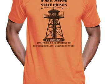 Folsom State Prison T Shirt - Mens T Shirts - Mens Shirt - Prison Jail Halloween Costume - Funny Novelty Gift T Shirt Womens Graphic Tees