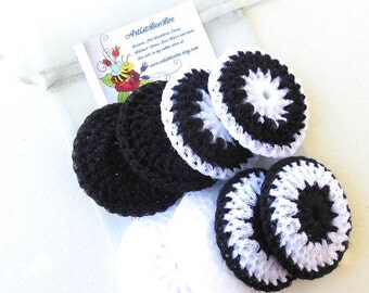 Nylon Pot Scrubber - Set of 8 - Yin and Yang Collection - Crochet Dish Scrubbies