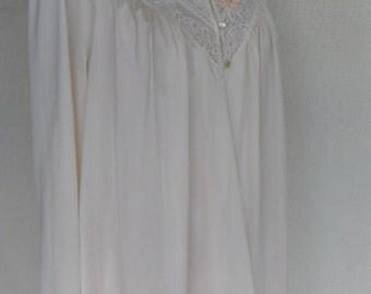 Vintage Nylon Robe Shadowline Size Small Housecoat Ivory Embroidered Wedding