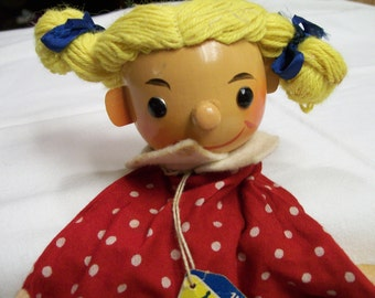 German Doll Puppet Sonneberger Wood and Fabric Made in GDR German Democratic Republic 1960s