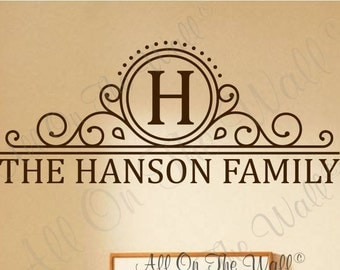 Family Wall Decal Monogram Name Decal Last Name Decal Personalized Home Decor Vinyl Wall Stickers Home Vinyl Wall Lettering Family Last Name