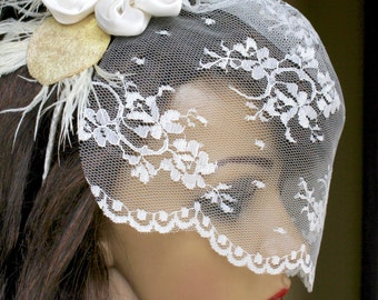 Floral lace blusher veil with silk flower feather fascinator - Custom colors