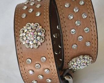 "Tan Leather Dog Collar, Iridescent Crystals - Large Leather Dog Collar,  Xl Dog Collar, Sizes 20""-24. Leather Dog Collar Large"
