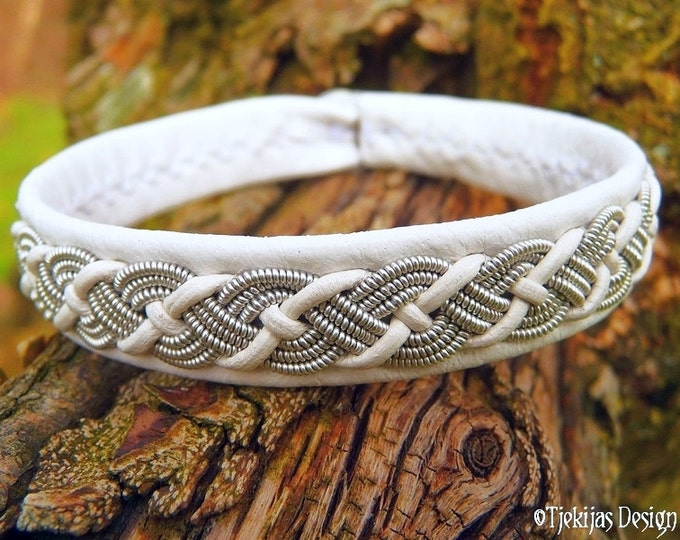 White Reindeer Leather Sami Bracelet VALHAL Viking Jewelry Embellished with Braided Lapland Pewter Wire - Handcrafted Natural Elegance