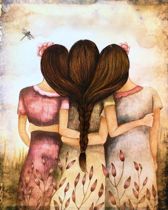 Three sisters best friends  with brown hair art print and dragonfly