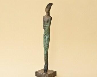 Abstract Metal Sculpture, Greek Art, Abstract Cycladic Figurine, Art Museum Replica, Home Decor, Geometric Art, Prehistoric Hellenic Art