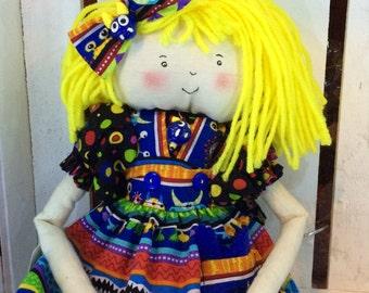 Dolly Dear, cloth doll, MOLLY MONSTER, monster doll, rainbow stripes, OOAK, cute doll