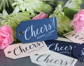 Wedding Favor Tags - Cheers! Custom Personalized Names & Date Thank You Tags - Perfect for S'mores, Chocolate, Champagne Tags - Bulk Listing