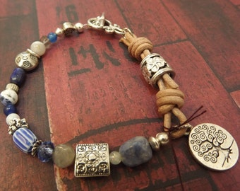 Bohemian Blue Abstract Beaded Bracelet With a tree of Life 8 Inches