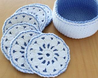 Coaster Basket Easy Crochet PATTERN Printable Download - PDF 3506
